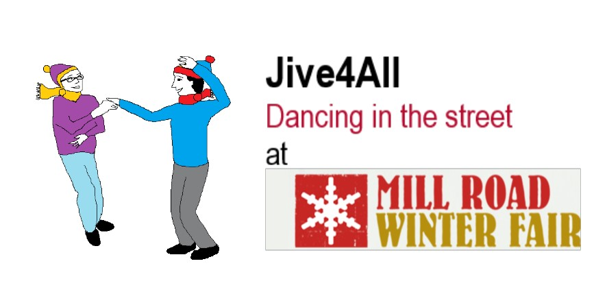 Image showing two cartoon dancers wearing hats and scarves dancing together beside the words 'Jive4All Dancing in the street at Mill Road Winter Fair'.