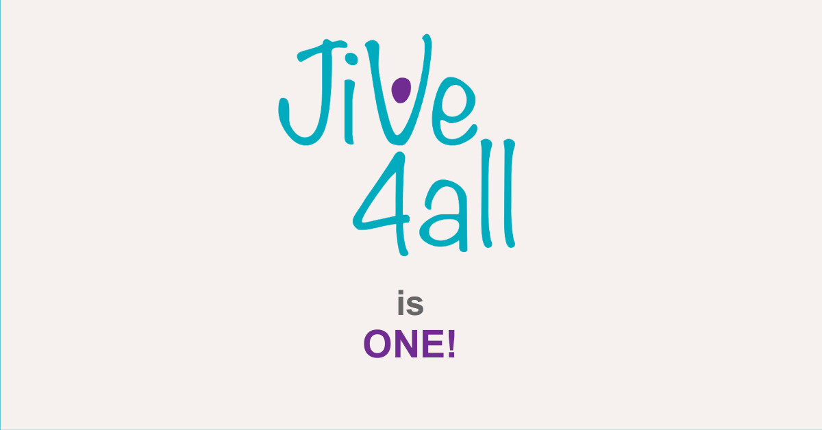 Simple Image featuring the words 'Jive4All is ONE!' in the brand colours of teal and purple against a plain background