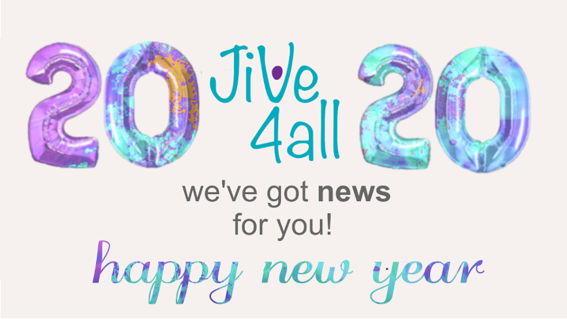 Image with the words 'Jive4All We've got news for you!' surrounded by balloons in the shape of the numers 2020 and the words 'happy new year underneath. Balloons and 'happy new year from Image by Markéta Machová on Pixabay